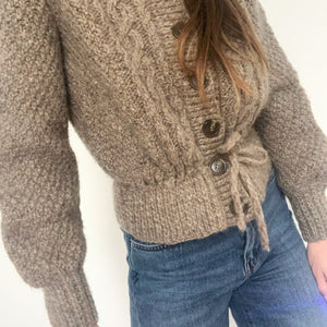 Vintage Hand Knit Cardigan With Tie Waist
