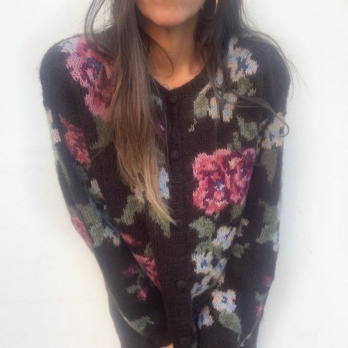 Vintage Hand Knit Floral Mohair Cardigan