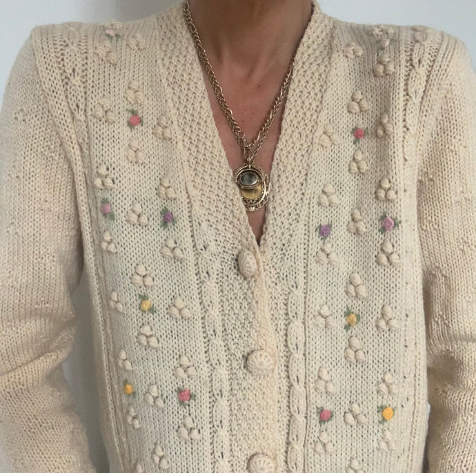 Vintage  Hand Knit, Hand Embroidered Cardigan