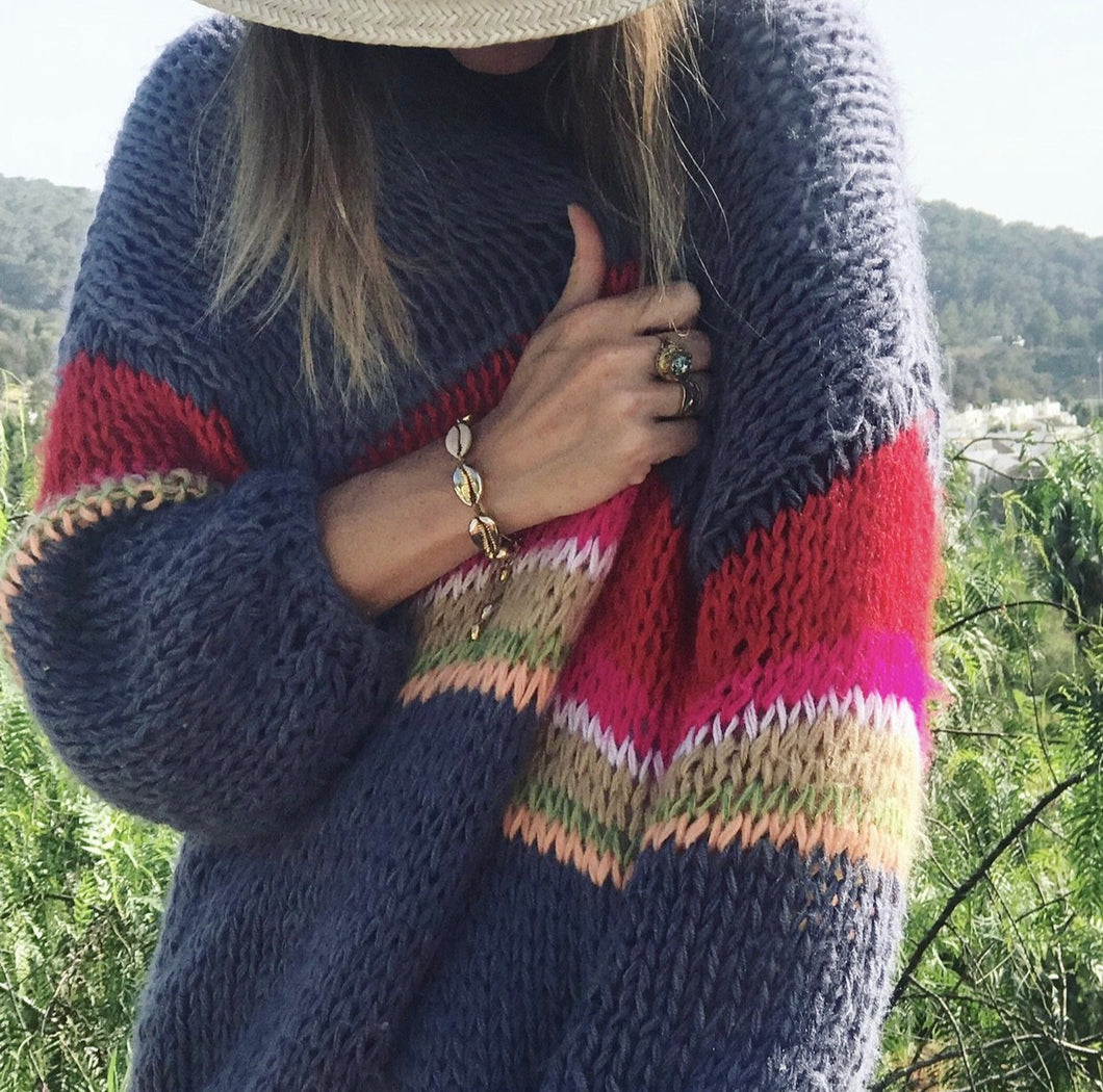 Rainbow Hand-Knit Cardigan