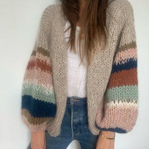 Muted Rainbow Hand-Knit Cardigan (Alpaca/Merino)