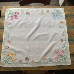 Vintage Linen Hand Embroidered Tablecloth