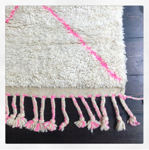 Pink Double Plaited Beni Ourain Berber Rug