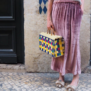 Portuguese Basket Bag - Rainbow Chess