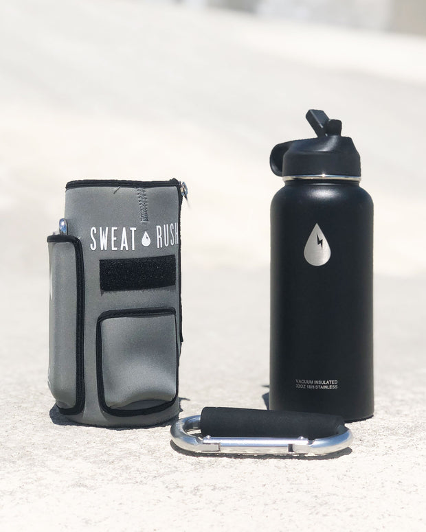 The Rushpack Bottle + Sleeve in Gray (32oz)