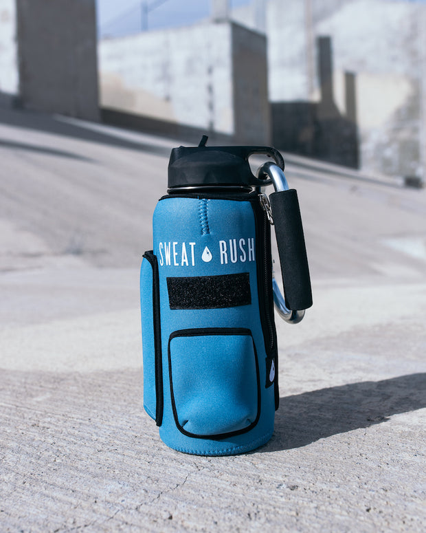 The Rushpack Bottle + Sleeve in Blue (32oz)