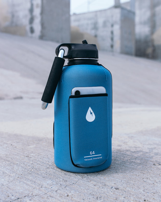 The Rushpack Bottle + Sleeve in Blue (64oz)