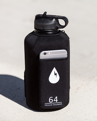 The Rushpack Bottle + Sleeve in Black (64oz)