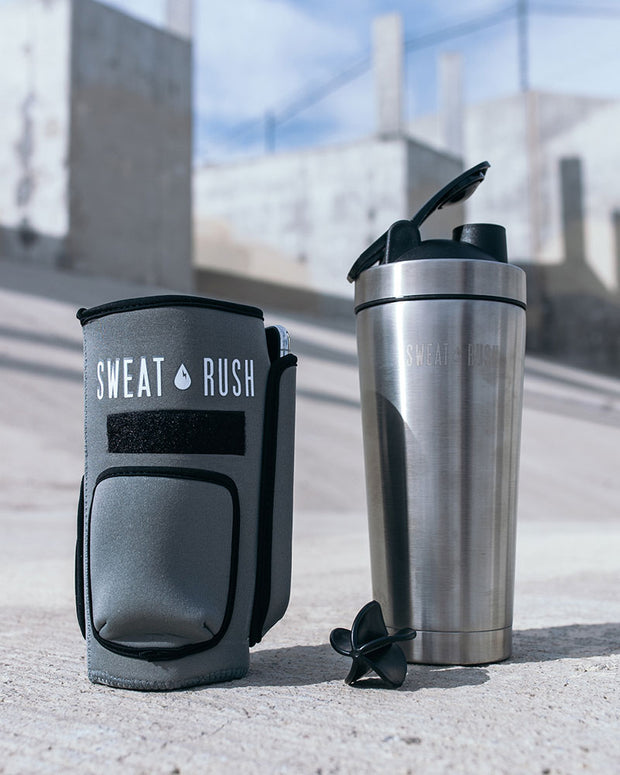 HyperFrost™ Insulated Shaker Bottle + Sleeve in Gray (24oz)