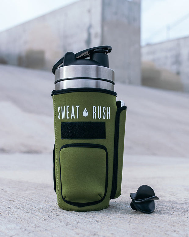 HyperFrost™ Insulated Shaker Bottle + Sleeve in OD Green (24oz)