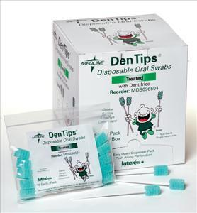 Dentips Disposable Oral Swabs, Treated