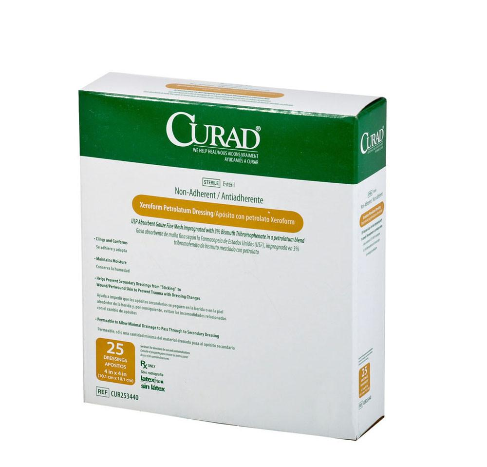 "Curad Xeroform Gauze, 4x4""  case of 150"