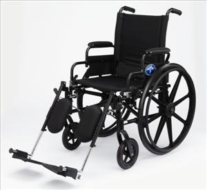 "Excel K4 Wheelchair w/ Swing Back Arms and Detachable Elevating Legrests (22""  Black)"
