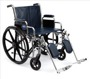 "Excel Heavy Duty Wheelchair w/Removable Arms and Detachable Elevating Legrests (20""  Navy)"