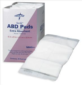 Abdominal (ABD) Pads, 5x9, Sterile (Box of 25)