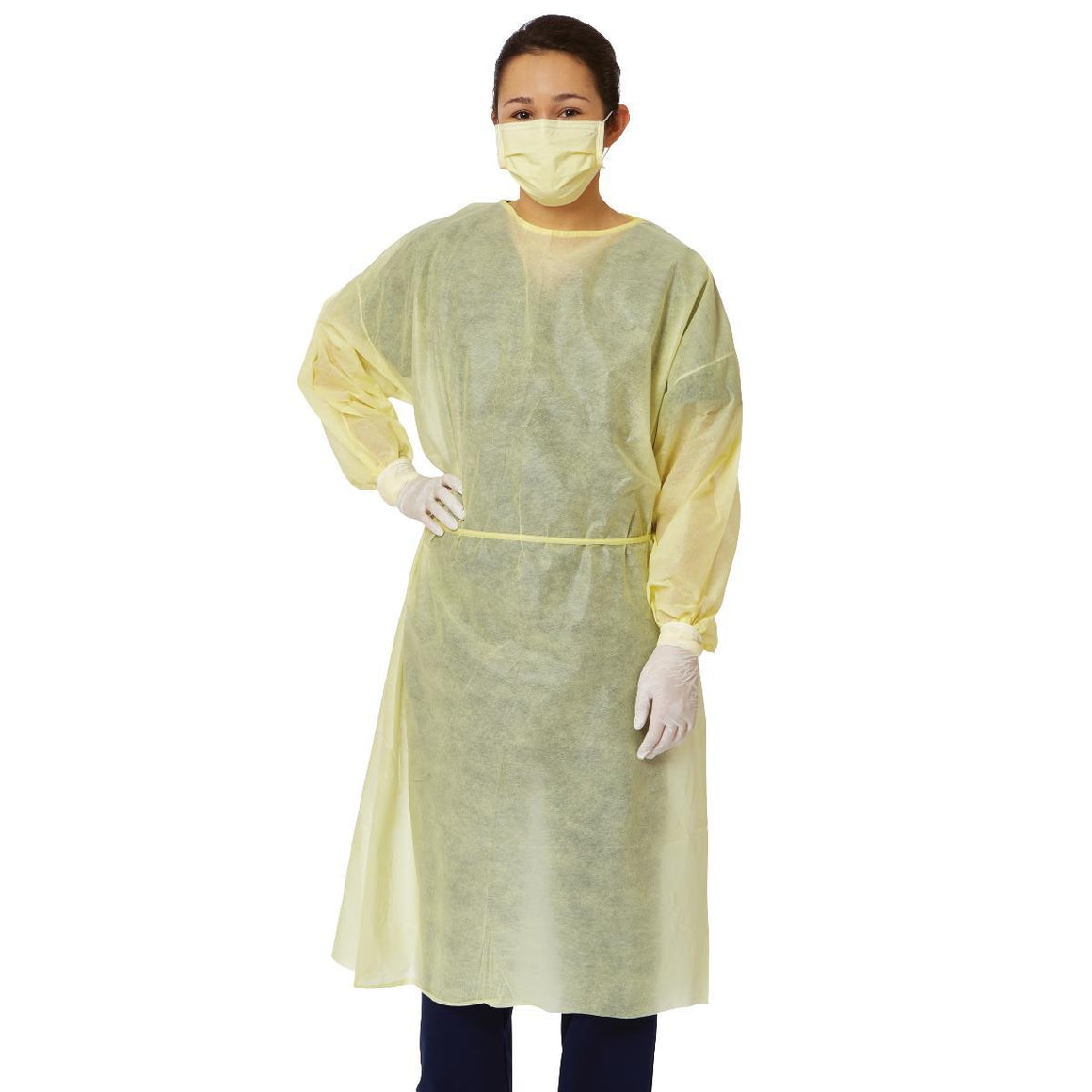 Level 1 Disposable Isolation Gown Assorted Colors (Blue, Yellow, Green, White) 100/Case