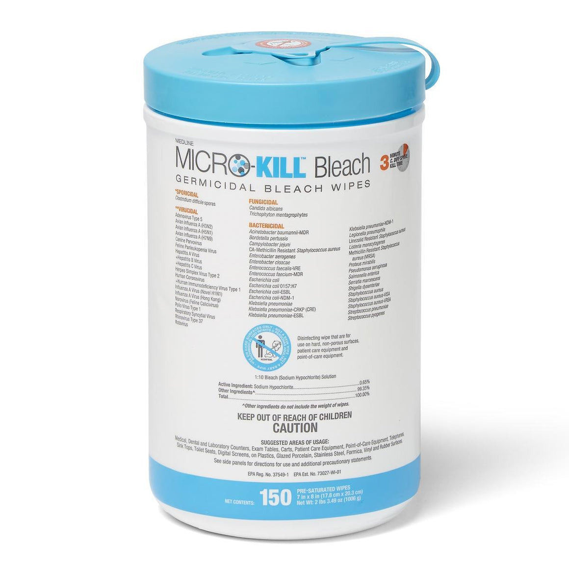 MicroKill Plus Germicidal Wipes, 150ct Canister
