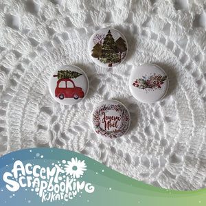 "Badge 1"" - Voiture sapin"