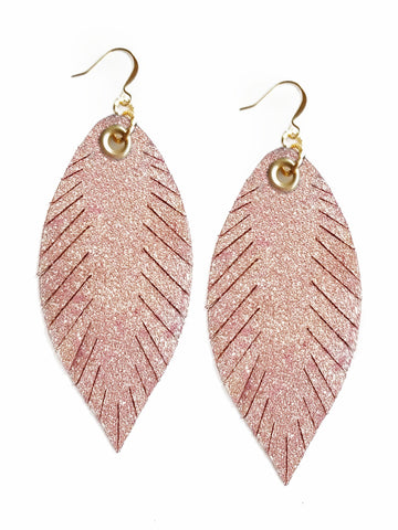 Designer Feather Earrings - Rose Gold Shimmer