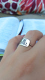 Spoken Word Shield Ring - Be Still