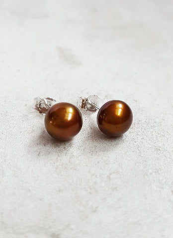 Freshwater Pearl Studs - Copper Brown