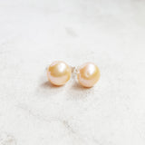 Freshwater Pearl Studs - Peach - K. Johnson Jewelry LLC