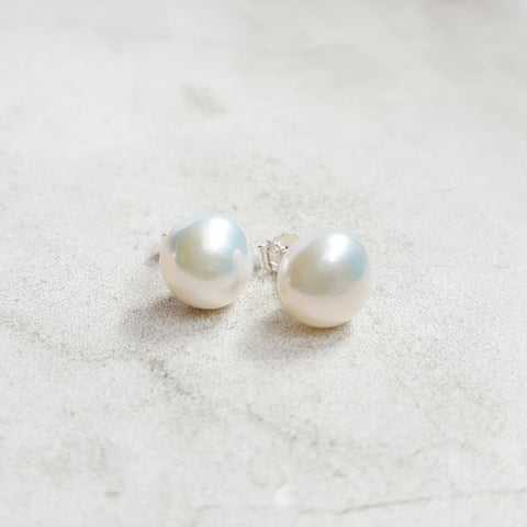 Freshwater Pearl Studs - White - K. Johnson Jewelry LLC