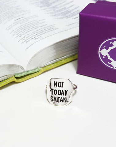 Spoken Word Shield Ring - Not Today Satan