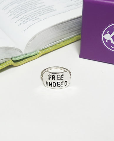 Spoken Word Shield Ring - Free Indeed