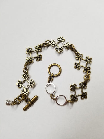 Percee Bracelet - Antiqued Brass/Silver - K. Johnson Jewelry LLC