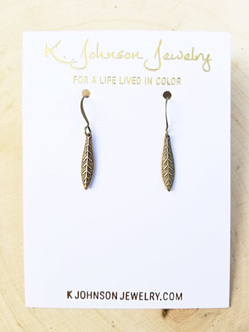 Textured Leaf Drop Earrings - Antique Brass