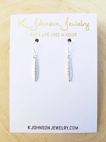Textured Leaf Drop Earrings - Silver - K. Johnson Jewelry LLC