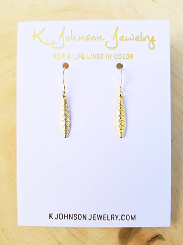 Textured Leaf Drop Earrings - Gold