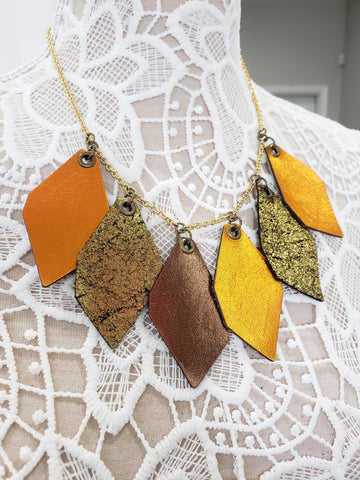 Pumpkin Leather Statement Collar - K. Johnson Jewelry LLC