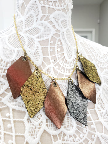 Gold Dust Leather Statement Collar