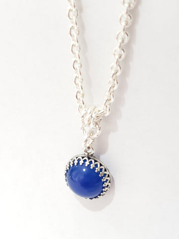 12mm Gemstone Pendant - Blue Quartz - Silver - K. Johnson Jewelry LLC