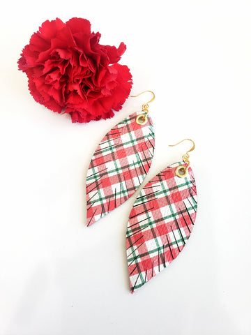 Designer Feather Earrings - Christmas Plaid - Limited Edition - K. Johnson Jewelry LLC