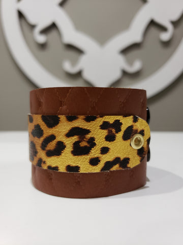 Leather Cuff - Cognac & Gold Cheetah - K. Johnson Jewelry LLC