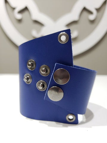 Leather Cuff - Asymmetrical Blue - K. Johnson Jewelry LLC