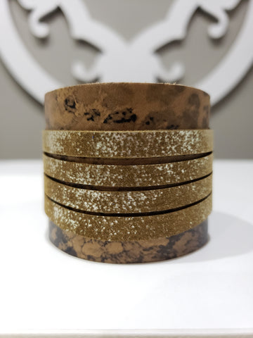 Leather Cuff - Rustic Cheetah Print - K. Johnson Jewelry LLC