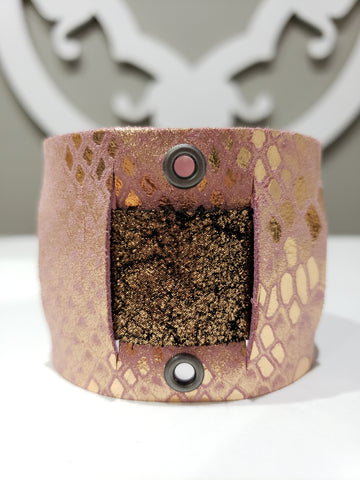Leather Cuff - Pink/Copper Shimmer - K. Johnson Jewelry LLC
