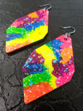 Glitter Happy - Neon Tie Dye Geo Gems - K. Johnson Jewelry LLC