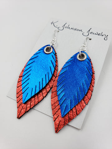 Americana - Layered Blue on Red - Small - K. Johnson Jewelry LLC