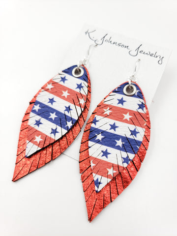 Americana - Layered Stars & Stripes on Red - Large - K. Johnson Jewelry LLC