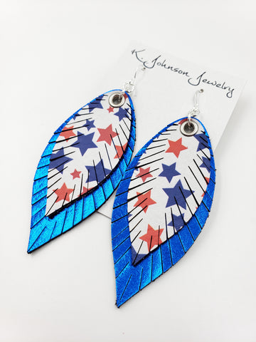 Americana - Layered Stars on Blue - Large - K. Johnson Jewelry LLC