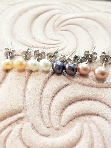 Mini Freshwater Pearl Button Studs (4 Colors)