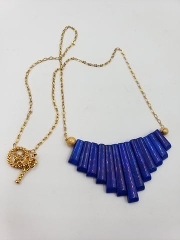 Blue Howlite Fan Necklace