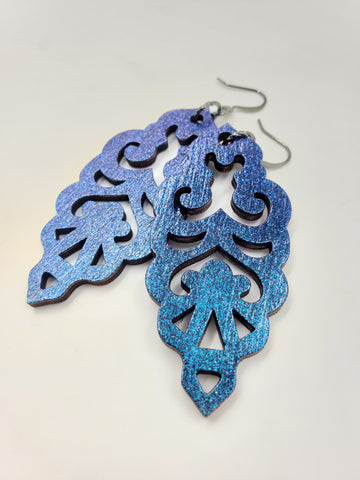 Colorshift Filigree Earrings - Navy Base