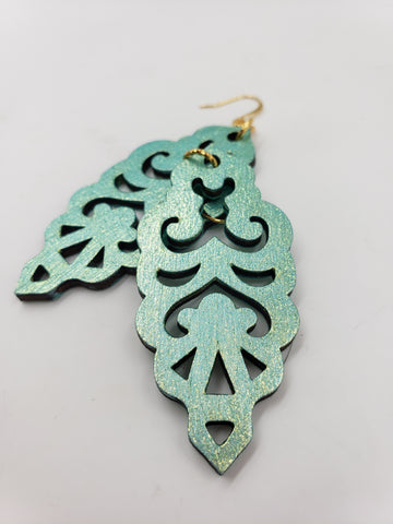Colorshift Filigree Earrings - Seafoam Base