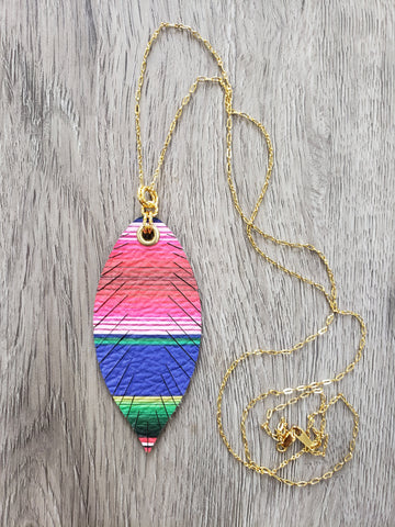 Fiesta Serape Feather Necklace - Gold